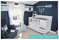 Cute for a boys room, not a fan of the navy paint though...needs another color. I like the bedding, oar, curtains and lantern on dresser (another pic)