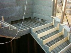 Construction of concrete stairs includes steps such as designing, preparing foundation, building formwork, placement of reinforcement steel bars, Concrete Staircase, Concrete Steps, Staircase Design, Concrete Garden, Concrete Design, Stairs Architecture, Architecture Details, Building Stairs, Building A House
