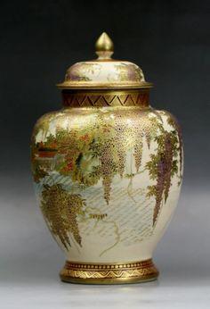 Antique Japanese Satsuma Gilt Porcelain Vase: with cover, signed on the base, circa Size: H: on Jan 2013 Japanese Vase, Japanese Porcelain, Japanese Ceramics, Japanese Pottery, Vases, Pots, Antique Glassware, Ginger Jars, Porcelain Ceramics