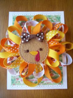 Thanksgiving Turkey Puff Grosgrain Ribbon Bow by LittleDollysShop, $7.25
