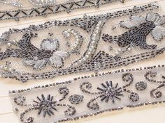 Em's Heart Antique Linens -Antique Glass Beaded Lace Samples Collection
