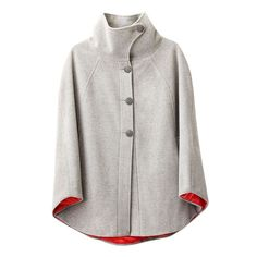 Lulu Cape Grey Cloud // Leslie Tessler -- love the touch of red on the underside. I'd prefer it in a darker colour. Women's Capes & Ponchos, Diy Love, Capes For Women, Winter Mode, Cape Coat, Autumn Winter Fashion, Fall Fashion, Diy Clothes, What To Wear