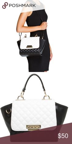 Madison by Shoedazzle Geraldton Shoulder Bag Super chic! Geraldton features a colorblock of the classics, black and white, with hardware detailing and a quilted stitch to finish it off.😄 Madison Bags Shoulder Bags