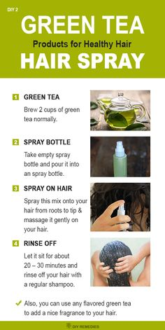Green tea hair spray for Healthy Hair  Green tea hair spray will give a solution to many hair problems like hair loss, split ends, dry hair and itchy scalp.