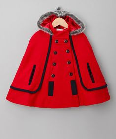 Take a look at this Red & Black Hooded Cape - Toddler & Girls by Sugar Pink on #zulily today!