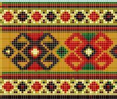 Turkish motif Cross Stitch Borders, Cross Stitch Patterns, Loom Beading, Beading Patterns, Tapete Floral, Fair Isle Chart, Tapestry Crochet Patterns, Card Weaving, Palestinian Embroidery