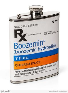 Now you can gulp down 200 CCs of doctor recommended Boozemin and look like a medically prescribed drunk with this booze prescription flask. Capable of holding 7 ounces of alcohol, this novelty prescription flask makes a great gift idea for doctors. Pharmacy Humor, Pharmacy School, Pharmacy Technician, Prescription Bottles, Innovation, Salud Natural, Thats The Way, Cool Stuff, Funny Stuff