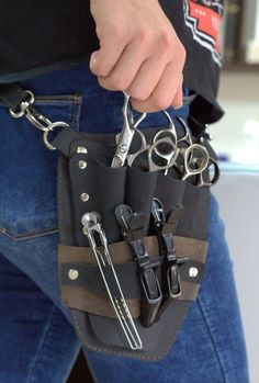 Barber Accessories, Steampunk Accessories, Leather Accessories, Leather Pouch, Leather Belts, Leather Tooling, Barber Apron, Barber Shop Decor, Aprons For Men