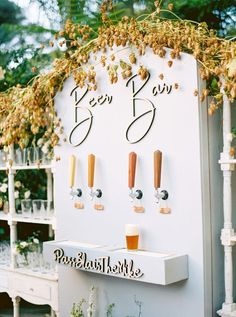 Fairytale Garden Wedding at Butterfly Lane Estate in Montecito A festival wedding needs a beer bar right?A festival wedding needs a beer bar right? Martha Stewart Weddings, Wedding Rehearsal, Rehearsal Dinners, Rehearsal Dinner Decorations, Fairytale Garden, Perfect Wedding, Dream Wedding, Wedding Theme Ideas Unique, Modern Wedding Decorations