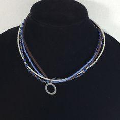 Jewelry Necklace Aero Seed Bead Plastic Glass Quadruple Strand Brown Blue White  #Aero