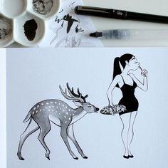 Inktober 4: Faim. Mange tes légumes! Inktober 4: Hungry. Eat your greens! #inktober #inktober2016 #drawingchallenge #inking #ink #drawing #illustration #artistsoninstagram #art #sketch #sketchbook #pentel #pentelbrushpen #deer #reindeer #cerf #biche