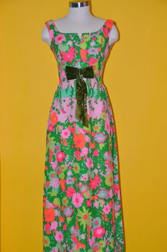 Custom Tailored Pink Green Orange Vintage Estate Maxi by KuratedKE