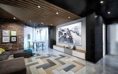 "Loft with fun by design studio ""MartinArchitects"" House Design, Room Design, Loft Living, Loft Ceiling Design, Workout Room Home, Home, Cool House Designs, Space Design, Trendy Home"