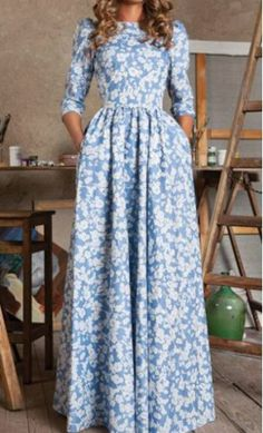 Mary: modest vintage style blue maxi dress with 3/4 sleeves, fitted waist and floral print