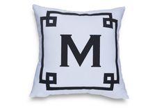 Monogram Throw Pillow Cover -Custom Monogrammed Decorative Pillows -Present -Gift -Wedding Registry -White Navy Greek Key Cotton Pillow