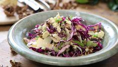 Crisp winter coleslaw recipe, Nigel Slater, with red cabbage, fennel, celery, apple, walnuts & stilton