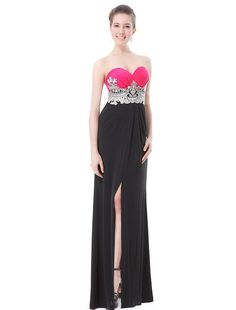 Ever Pretty Lacey Strapless Hot Pink Black Slitted Ruched Long Prom Dress 09874