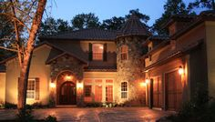 Love the stone and exterior lighting