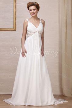 Fabulous Empire V-neck Backless Floor-Length Court Train Beaded Wedding Dress