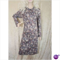 Vintage 1960 1970 Hand Made Fitted Floral Bow Dress Size 20 on eBid United Kingdom