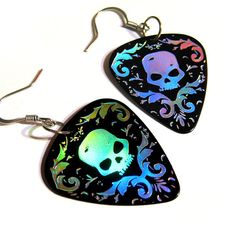 black and silver damask skull guitar pick earrings hot by kahlaw, $9.50