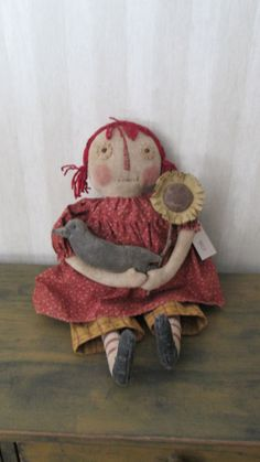 Prim Raggedy with Sunflower and Crow by Bettesbabies on Etsy, $46.00