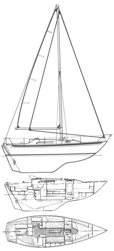 """Nicholson 31 drawing on sailboatdata.com - Nicholson 31 Brief Notes Builder Camper & Nicholson, Southampton Length OA 30' 7"""" Sail Area 624 sq ft Length WL 24' 2"""" Rig Sloop Beam 10' 3"""" Cabins 2 .Draught 5' 0"""" Berths 6 Displacement 12,992 lbs Engine type usually a Yanmar diesel Ballast 4,760 lbs Engine bhp 22 Keel type Long keel with encapsulated lead ballast"""