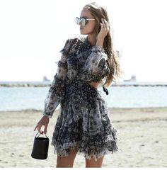 Buy Women Black Hollow Out Mini Dress Silk Floral Print Backless Long Sleeve Tie Up Wrap Holiday Sexy Summer Beach Dress Ruffle Dress, Silk Dress, Ruffles, Ruffle Trim, Mode Boho, Cheap Dresses, Sun Dresses, Summer Dresses For Women, Aliexpress