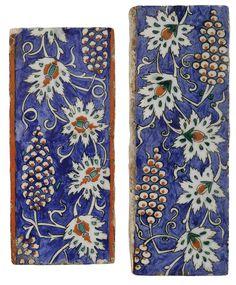 TWO IZNIK POLYCHROME BORDER TILES, TURKEY, CIRCA 1580-85