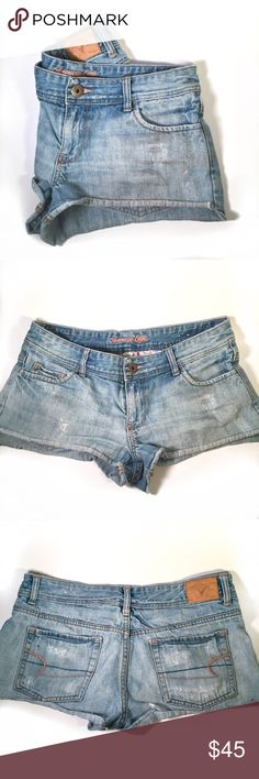 American Eagle cut off denim shorts American Eagle cheeky denim cutoffs. Frayed hem with vintage wash. Five-pocket styling and button fly closure. Rigid cotton fit for a classic, vintage-inspired fit.  Size: 0  Condition: used, good shape and still have a lot of life left in them. Please ask any questions prior to purchase.   🚫no trades 🙅🏻 🔘please use offer button to negotiate 👌🏻 🗣please ask questions ❓before you buy 💗thank you for visiting by my closet 😘 HAPPY poshing 🛍🎀 American…