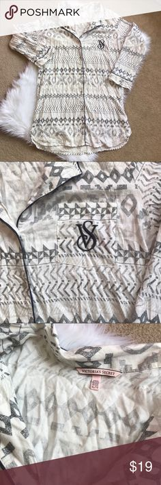 Victoria's Secret Button Down Monogram Sleepshirt Victoria's Secret Monogram Button Down Sleep Shirt.  Gray/Cream with pocket and Monogram.  Full button down front.  Super soft!  Not flannel so perfect for all seasons.  Soft!  Size XL.  Never worn, no rips, stains or tears. Victoria's Secret Intimates & Sleepwear Pajamas