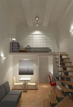 n industrial loft design was meant for an artist and it combines the best of both worlds. A living area and a workshop. This industrial interior loft is a wonde Loft Design, Tiny House Design, Design Case, Design Model, Design Room, Bed Design, Small Rooms, Small Apartments, Small Spaces