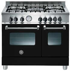 Buy Bertazzoni Dual Fuel Range Cooker, Black from our Cookers range at John Lewis & Partners. Dual Fuel Cooker, Dual Fuel Range Cookers, Amsterdam Houses, Baked Roast, Built In Grill, Electric Oven, New Kitchen, Kitchen Ideas, Kitchen Appliances