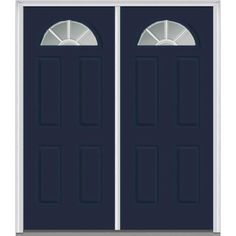 Milliken Millwork 62 in. x 81.75 in. Classic Clear Glass GBG 1/4 Lite 4 Panel Painted Majestic Steel Exterior Double Door, Naval
