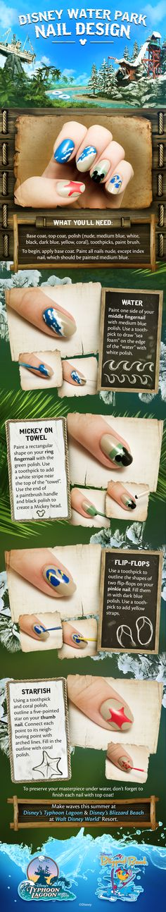 Disney Water Parks Nail Design! #DIY #tutorial #DisneySide
