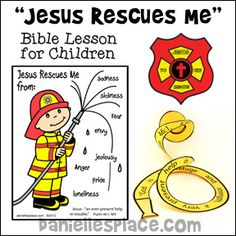 Jesus Rescues Me Bible Lesson with Fireman-themed crafts and activities for children from www.daniellesplace.com Hero Crafts, Vbs Crafts, Bible Crafts, Preschool Crafts, Sunday School Kids, Sunday School Lessons, Sunday School Crafts, Bible Study For Kids, Bible Lessons For Kids
