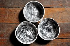 Set of Three Wabi Sabi Black and White by HalfLightHoneyStudio, $45.00