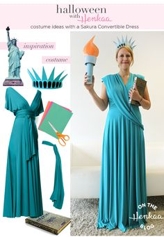 Statue of Liberty Costume - Patriotic Halloween Inspiration that's easy to do with a Convertible Dress! #henkaaween