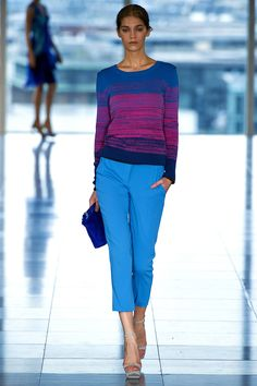 """Vibrant shades of blue and fuchsia."" Matthew Williamson Spring 2013 RTW"
