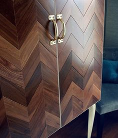 Upcycled herringbone cabinet with a gorgeous mix of grains