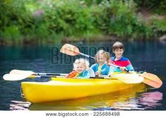 Happy family with three kids enjoying kayak ride on beautiful river. Little girl, toddler boy and teenager kayaking on hot summer day. Water sport and camping fun. Canoe and boat for children. Three Kids, Happy Family, Water Sports, Canoe, Summer Days, Toddler Boys, Kayaking, Little Girls, Photo Editing