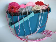 An inexpensive yarn caddy made from a plastic bucket and alligator clips. Plastic Buckets, Needlework, Knitting, Crochet, Color, Embroidery, Dressmaking, Couture, Tricot