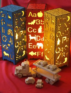 Brightly coloured Alphabet Lamps ideal for Children's bedrooms