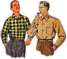 1950s style mens casual shirts