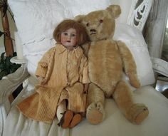 Great photo of antique doll and bear.
