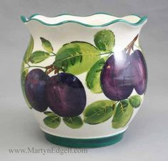 Wemyss plum coombe pot, circa 1890. More stock available at www.martynedgell.com or follow us at www.facebook.com/martynedgellantiques