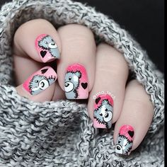cute bear nail art, Instagram media by nail_forum