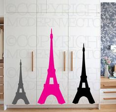 paris designs   Eiffel Tower Paris Theme Vinyl Wall Decal Designs Decor Girls Bedroom ...