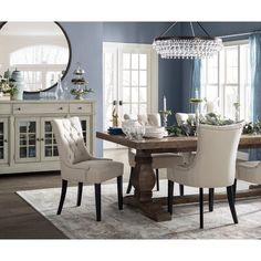 Get inspired by Traditional Dining Room Design photo by Birch Lane. Birch Lane lets you find the designer products in the photo and get ideas from thousands of other Traditional Dining Room Design photos. Dining Room Walls, Dining Room Design, Dining Room Furniture, Elegant Dining Room, Traditional Formal Dining Room, Formal Dinning Room, Furniture Design, White Dining Room Chairs, Classic Dining Room
