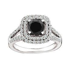 #carbonado #blackdiamondgem 1.1 Carat Black AAA Round Diamond Solitaire Double Halo Ring Set 14K White Gold by asaardiamonds - See more at: http://blackdiamondgemstone.com/jewelry/wedding-anniversary/bridal-sets/11-carat-black-aaa-round-diamond-solitaire-double-halo-ring-set-14k-white-gold-com/#!prettyPhoto